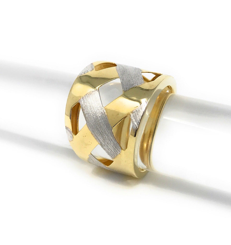 Women's Sterling Silver Gold Weave Ring