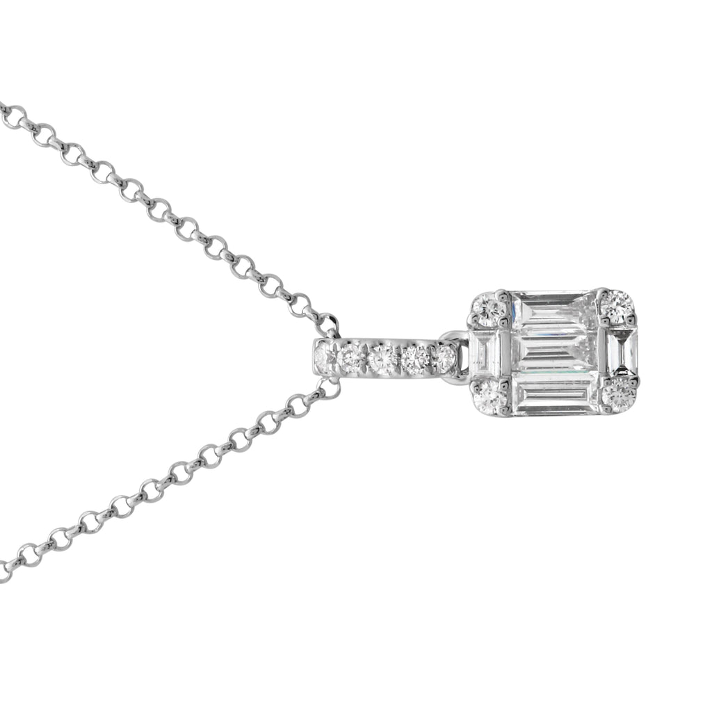 "14k White Gold Baguette Round Diamond Square Pendant Necklace (1/5 cttw, H-I Color, I1-I2 Clarity), 16+2"" Extender"