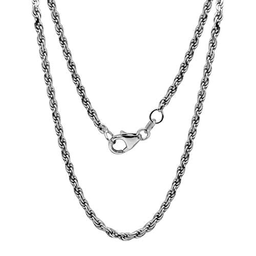 Men's 14k White Gold 2.2mm Solid Diamond-Cut Rope Chain Necklace, 16""