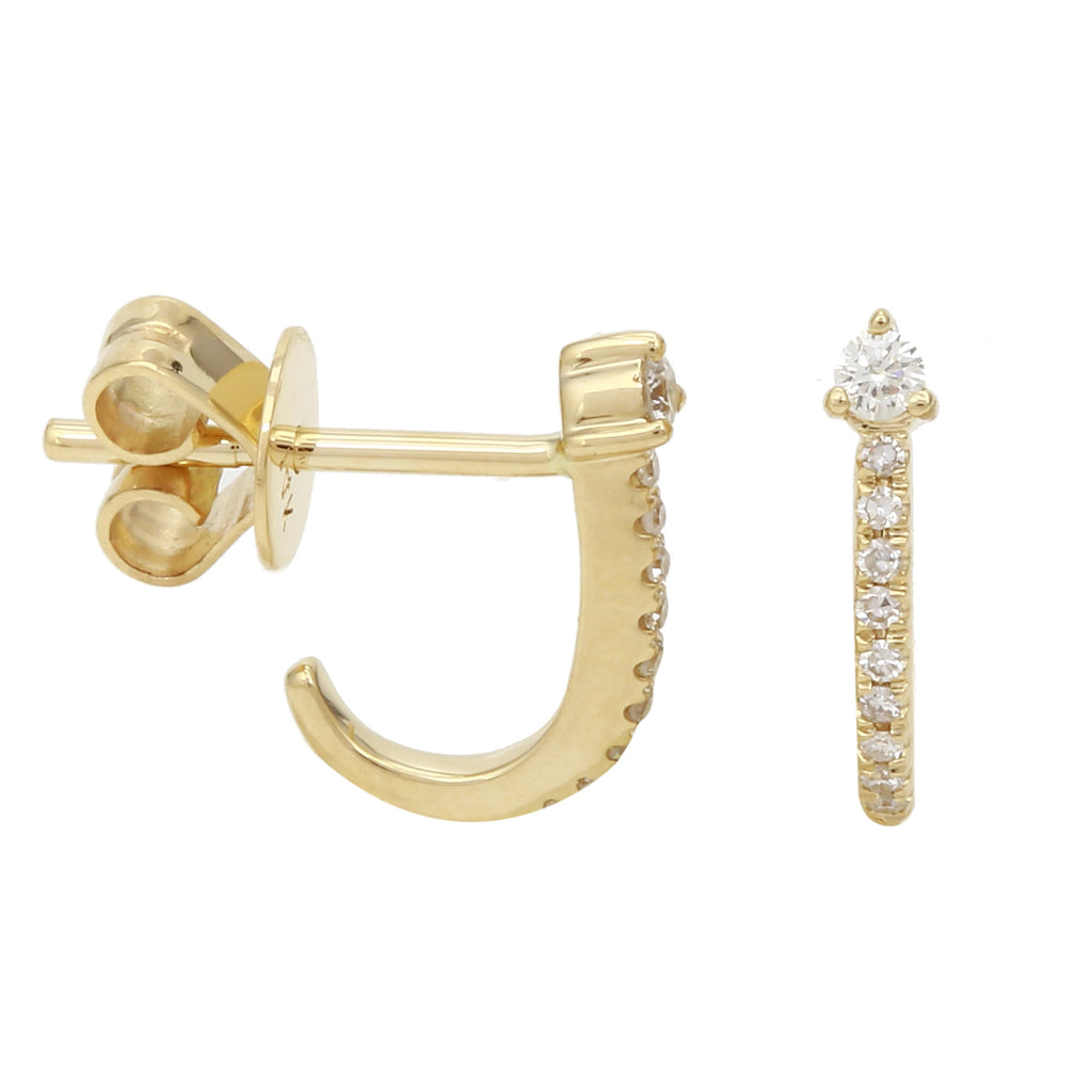 14k Yellow Gold Diamond Half Hoop Stud Earrings (1/10 cttw, H-I Color, I1-I2 Clarity)