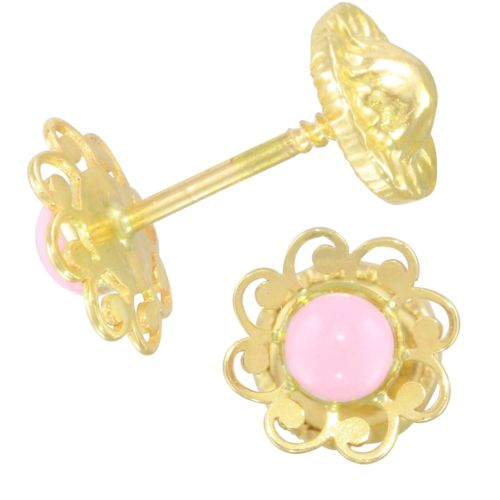 14k Yellow Gold Pink Flower Baby Stud Earrings