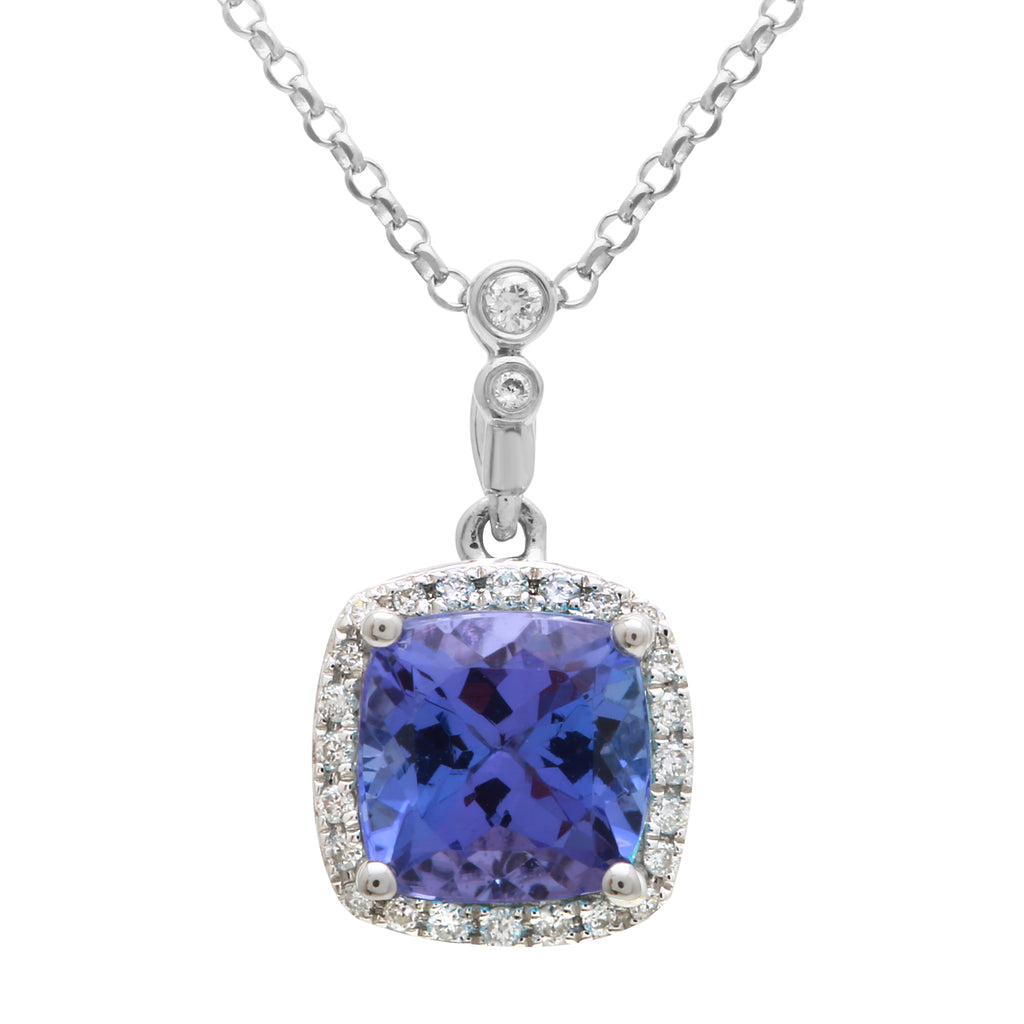 14k White Gold Diamond Tanzanite Cushion Halo Pendant Necklace (0.07 cttw, H Color, I2-I3 Clarity), 16""
