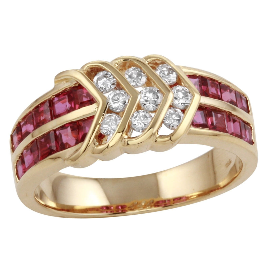 Women's 18k Yellow Gold Diamond Ruby Arrow Ring