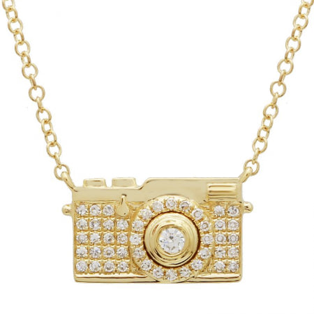 14k Yellow Gold Diamond Camera Pendant Necklace (1/10 cttw, H-I Color, I1-I2 Clarity), 16+2""