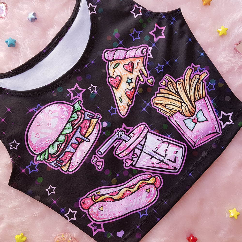 Black Fast Food Sleeveless Crop