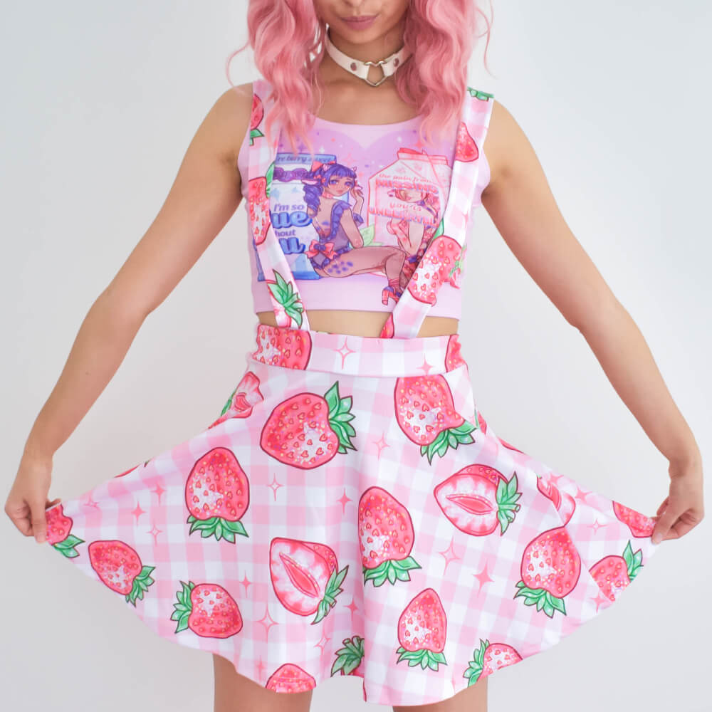 Strawberry Suspender Skirt - Pink 🍓