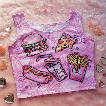 Pink Fast Food Sleeveless Crop