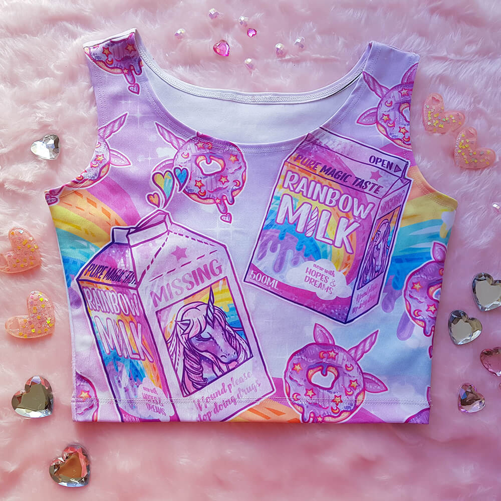 Rainbow Unicorn Milk Crop – Pink