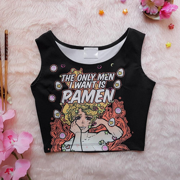 The Only Men I Want is Ramen Crop Black