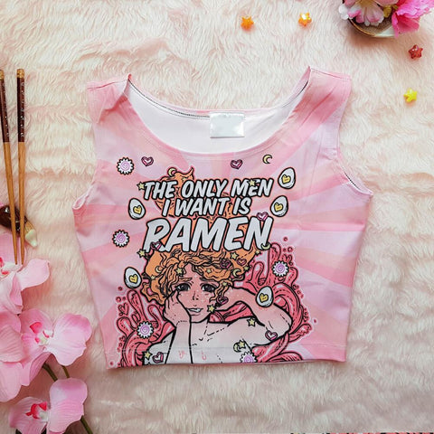 The Only Men I Want is Ramen Sleeveless Crop Pink