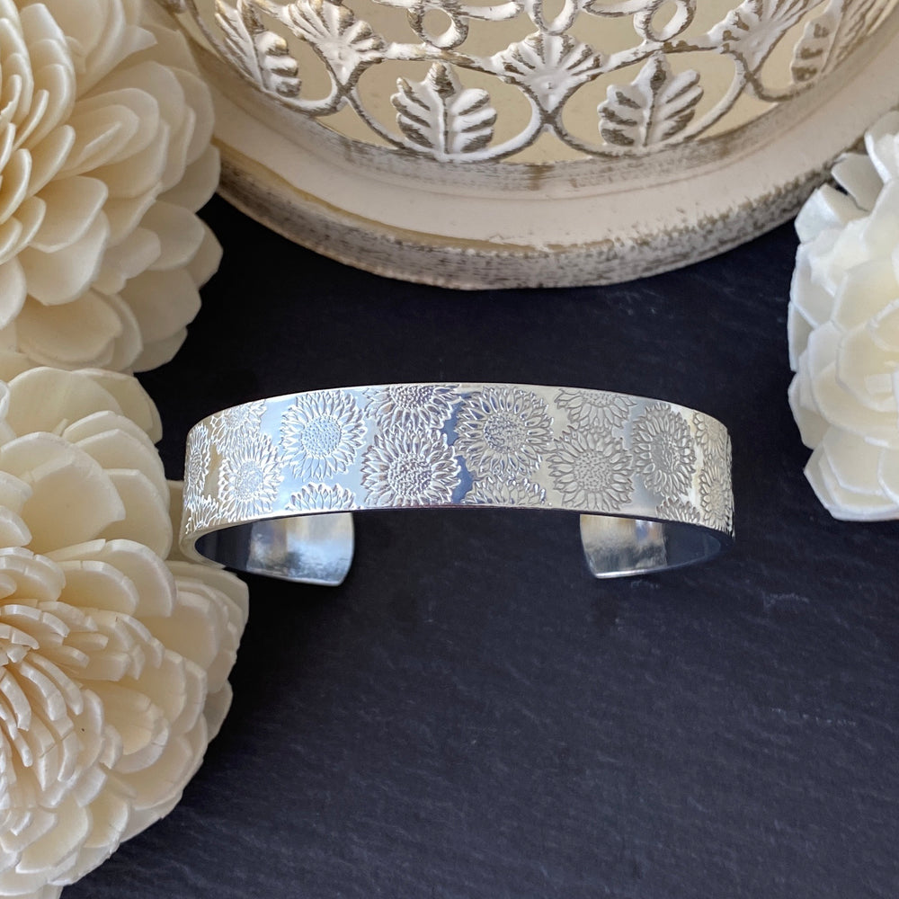 Hand Stamped Sunflower Cuff Bracelet - Natural finish