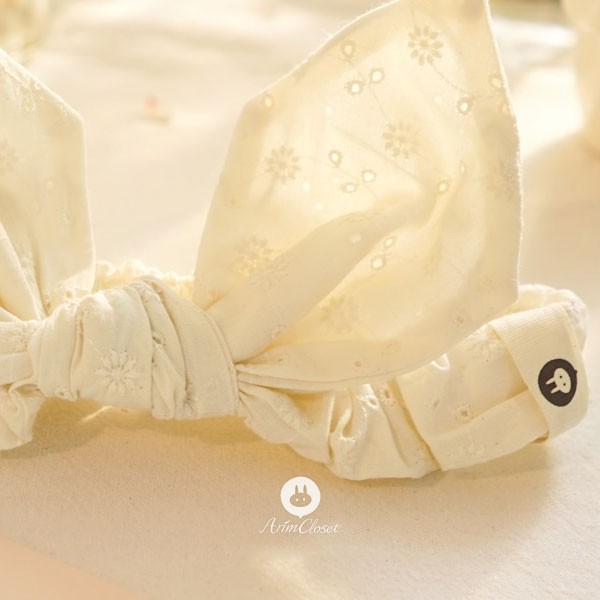 Bodacious Bow Headband - Cream White - Kiko Kids