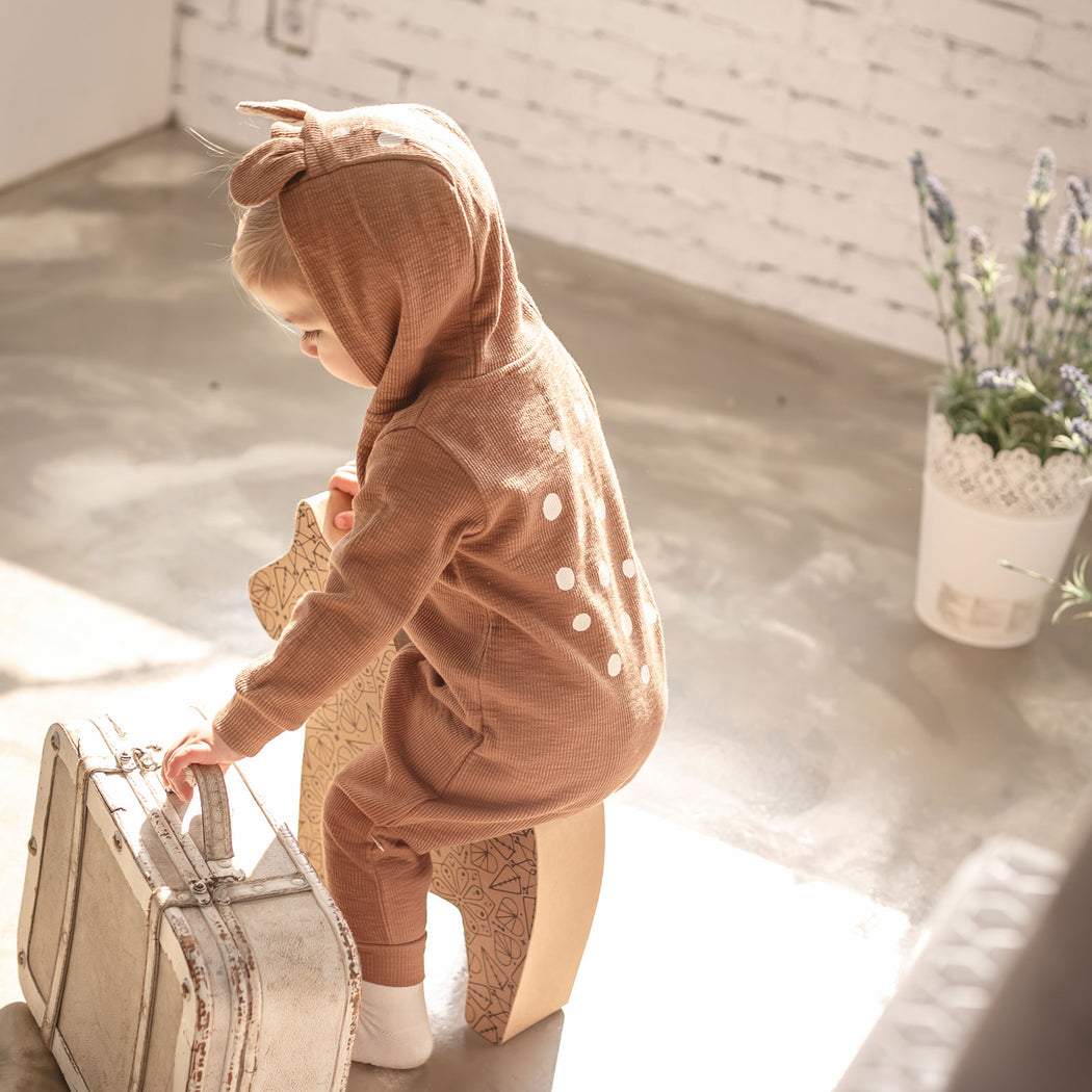 Doe-Eyed Bambi Romper - Rock Brown - Kiko Kids