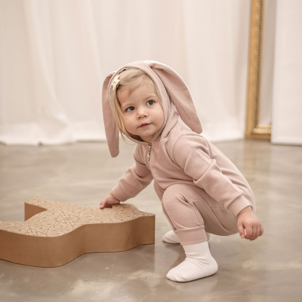 Honey Bunny Romper - Peach Pink - Kiko Kids