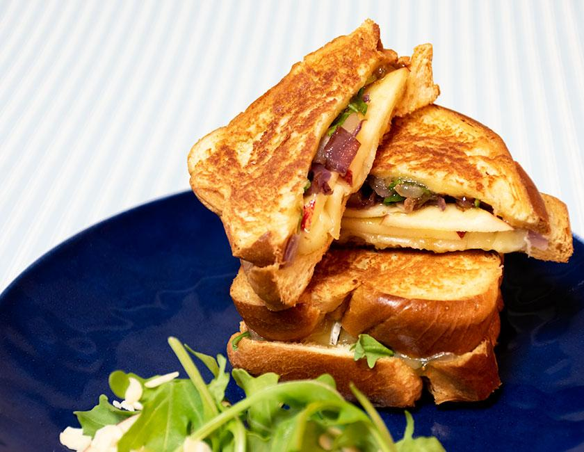 brie, fig & apple sliced brioche sandwich