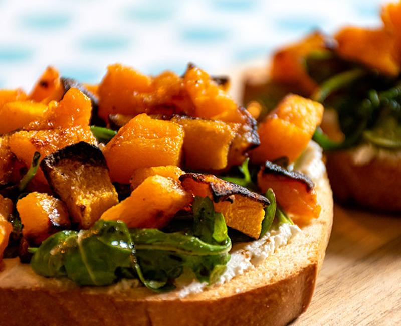 butternut squash tartine of sliced brioche