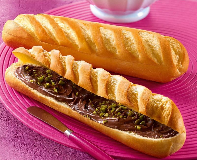 chocolate and pistachio baguette