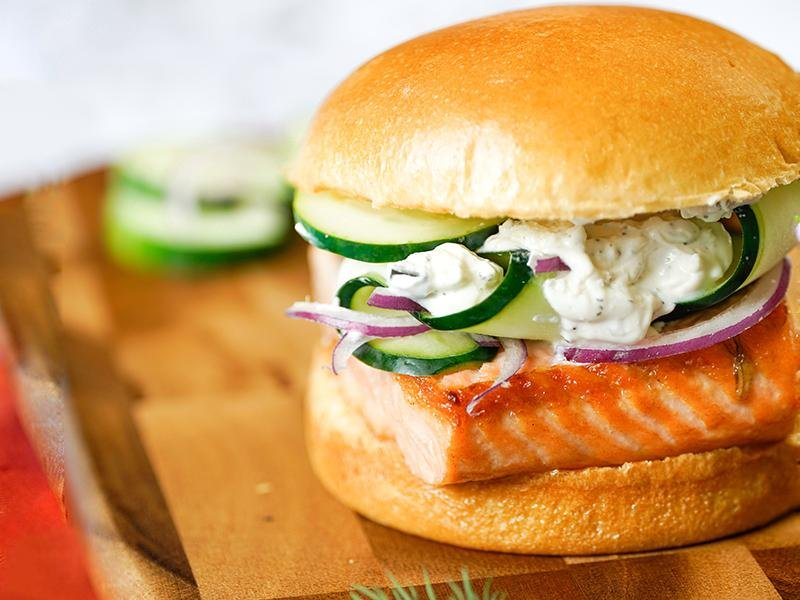 French salmon brioche burger