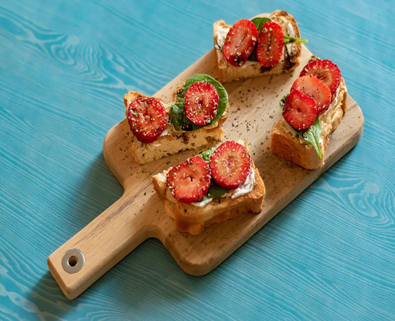 hand braided strawberry crostini