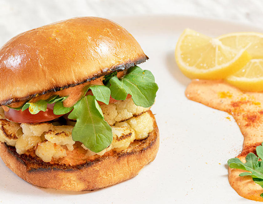 roasted cauliflower brioche burger
