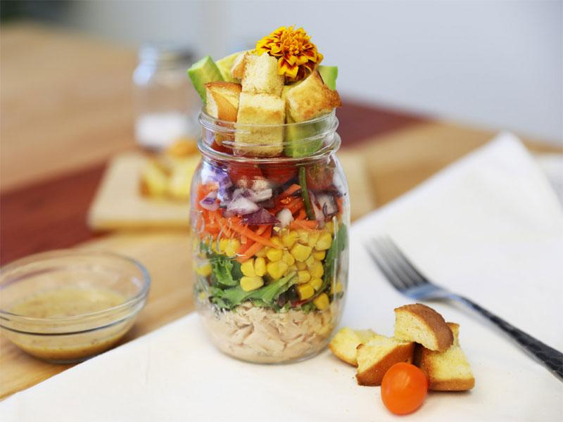 salad in a jar with brioche croutons