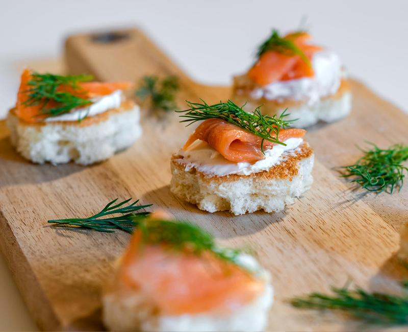 smoked salmon appetizer on sliced brioche