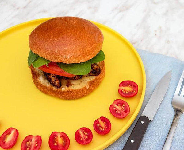 spicy chicken on brioche burger bun