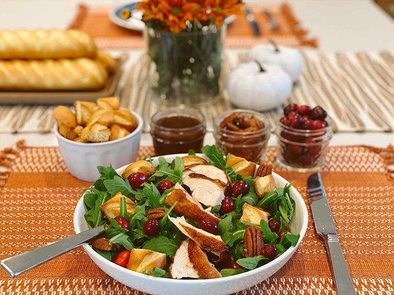 Thanksgiving leftover salad with soft brioche baguette croutons