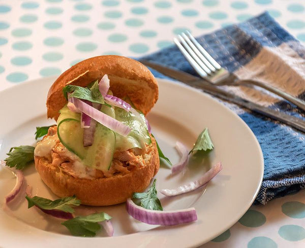 the French brioche salmon burger