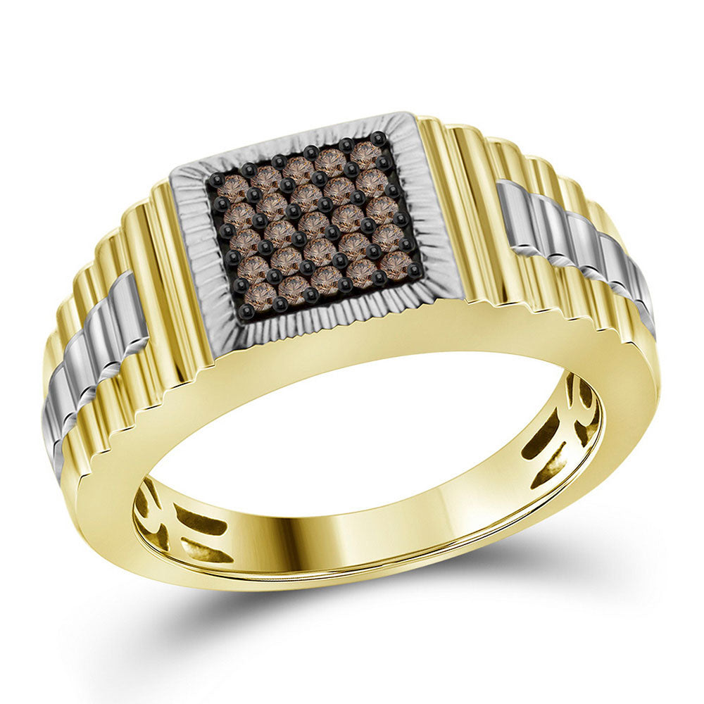 10K Yellow Gold Mens Round Cognac-brown Color Enhanced Diamond Square Cluster Ribbed Ring 1/4 Ct