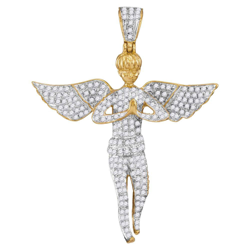 10K Yellow Gold Men's Diamond Angel Wings Cherub Charm Pendant 1.00 Ct