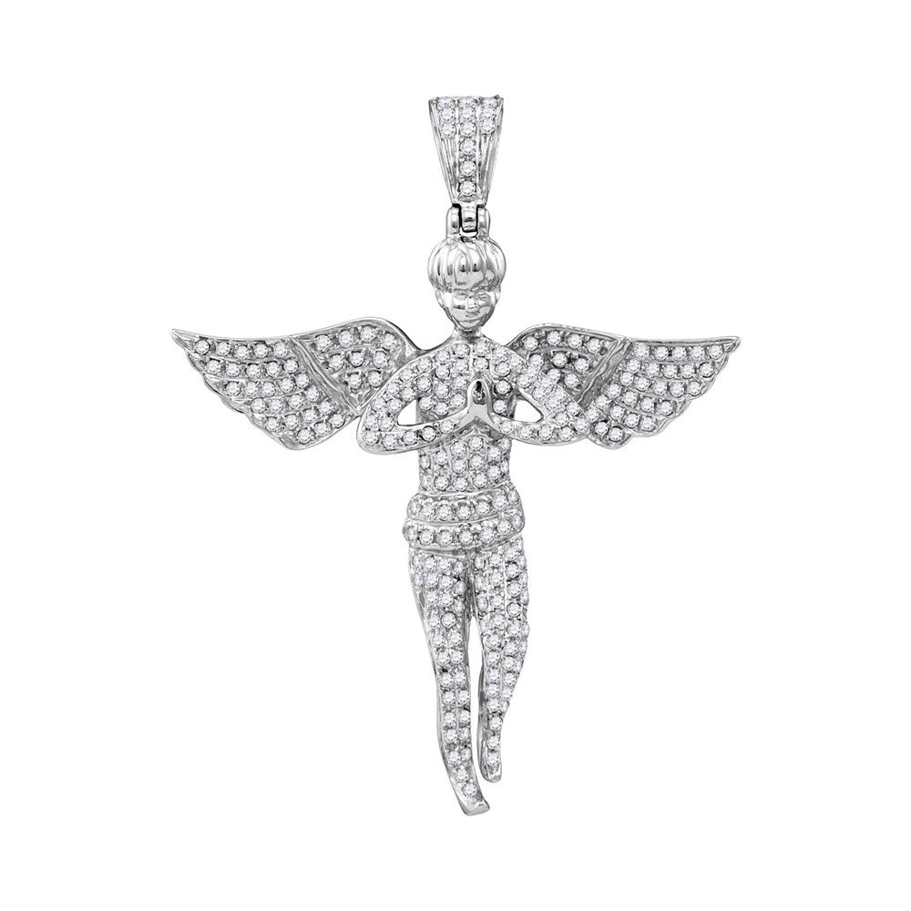 10K White Gold Men's Diamond Angel Wings Religious Charm Pendant 1.00 Ct