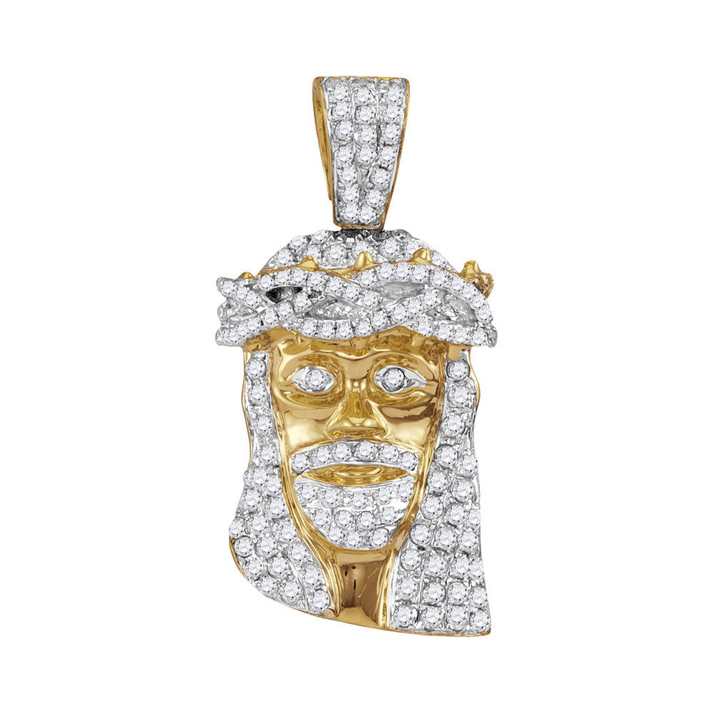 10K Yellow Gold Men's Diamond Jesus Christ Messiah Head Charm Pendant 3/4 Ct