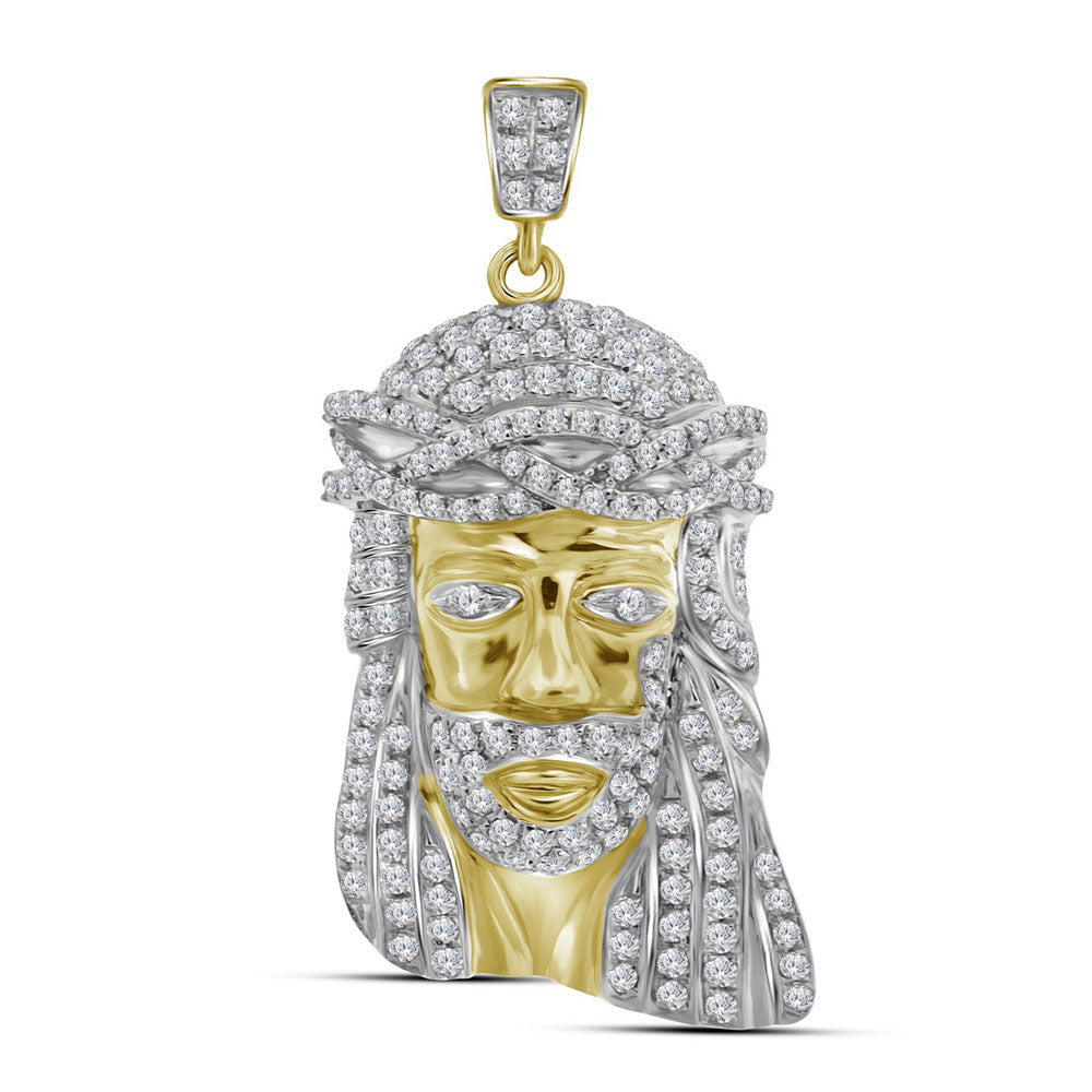 10K Yellow Gold Men's Diamond Jesus Christ Head Messiah Charm Pendant 3/4 Ct