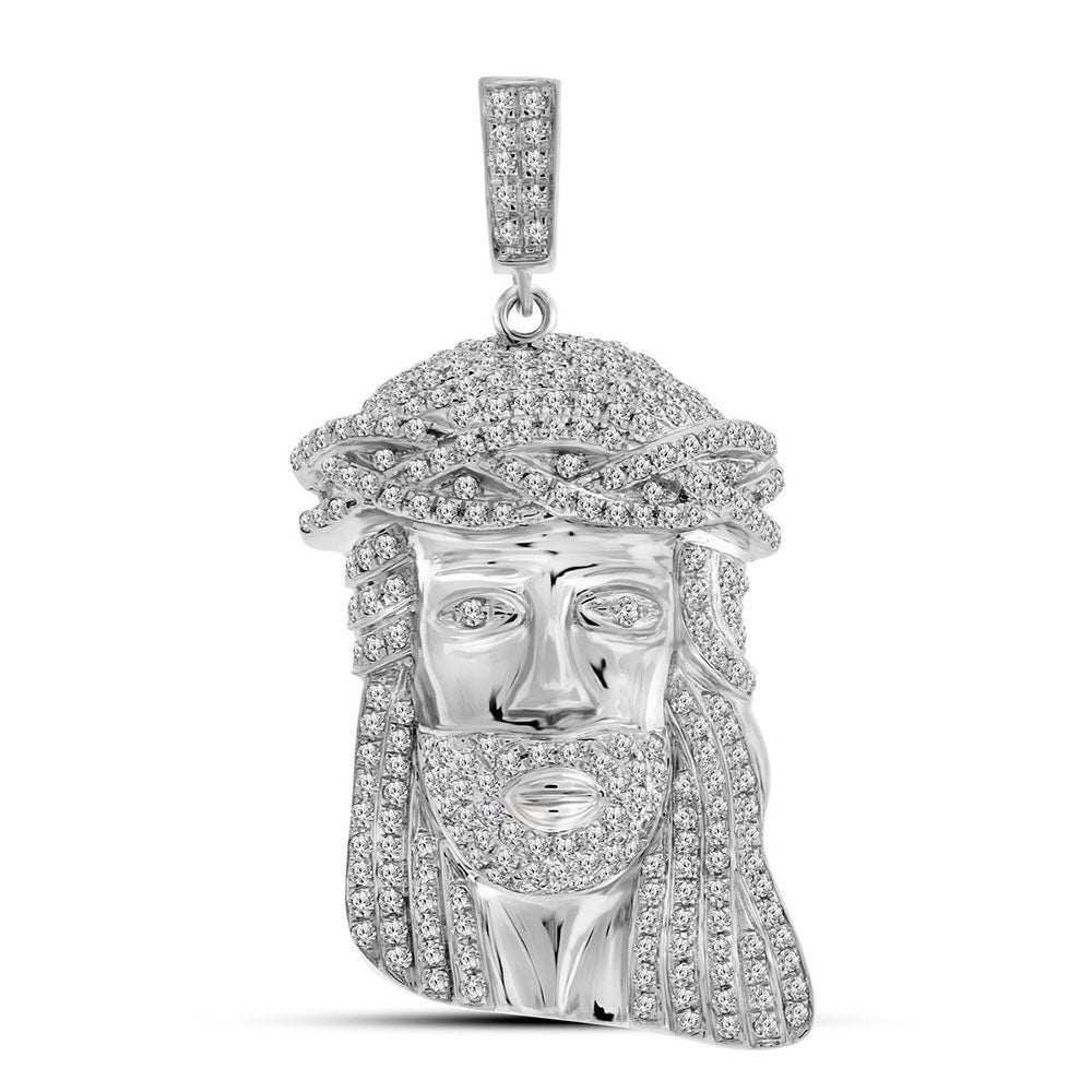 10K White Gold Men's Diamond Jesus Christ Face Charm Pendant 1-1/4 Ct