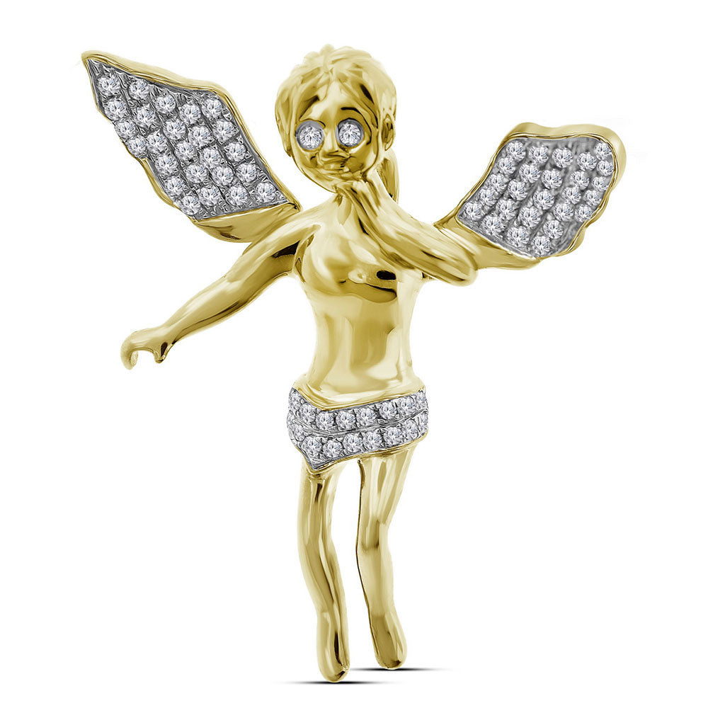 10K Yellow Gold Men's Diamond Guardian Angel Wings Cherub Charm Pendant 3/8 Ct