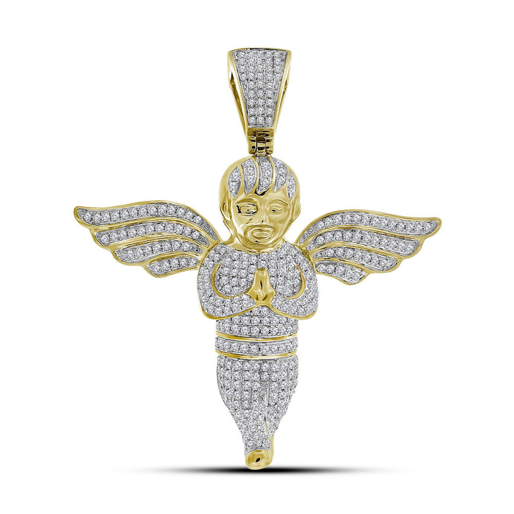 10K Yellow Gold Men's Diamond Angel Charm Pendant 1-1/2 Ct