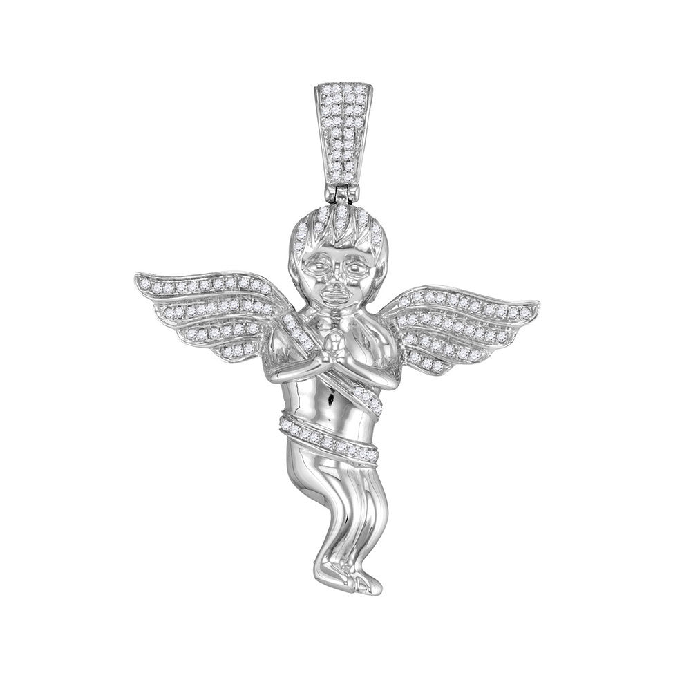 10K White Gold Men's Diamond Praying Angel Cherub Charm Pendant 1/2 Ct