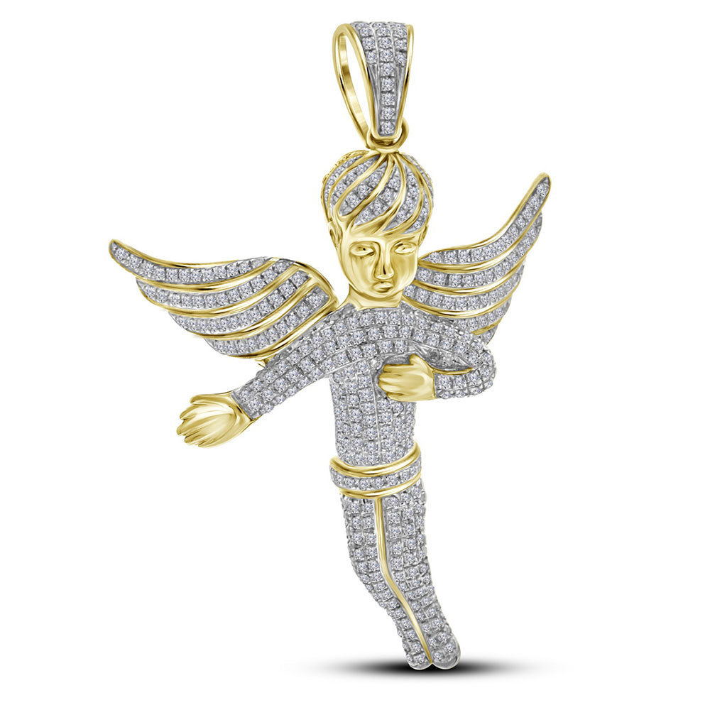 10K Yellow Gold Men's Diamond Angel Wings Charm Pendant 2.00 Ct