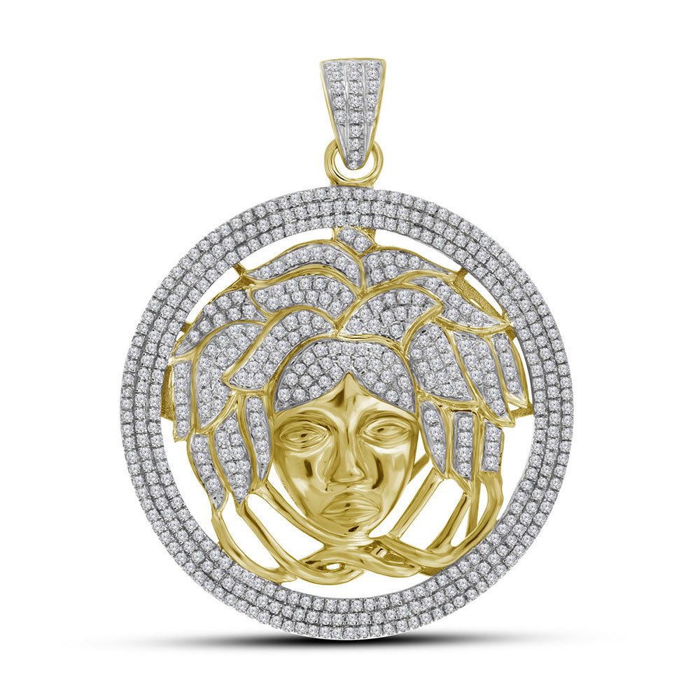 10K Yellow Gold Men's Diamond Medusa Gorgon Charm Pendant 2-1/5 Ct