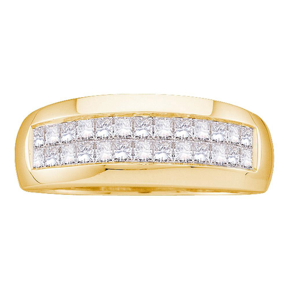 14K Yellow Gold Mens Princess Diamond Wedding Band Ring 1.00 Ct