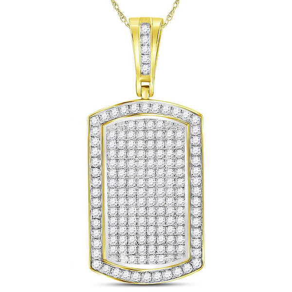 10K Yellow Gold Men's Diamond Dog Tag Charm Pendant 2.00 Ct