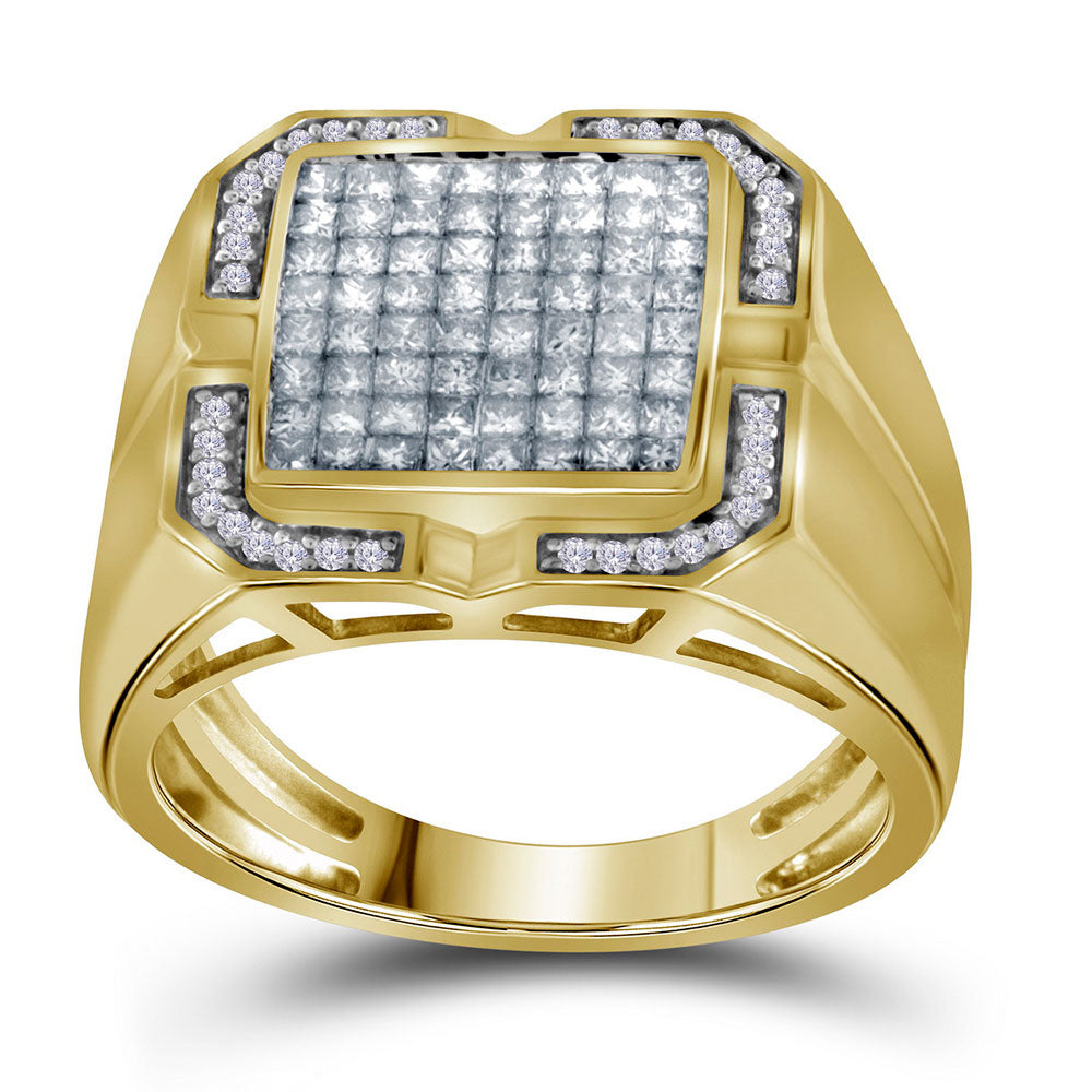 10K Yellow Gold Mens Princess Diamond Cluster Ring 1.00 Ct