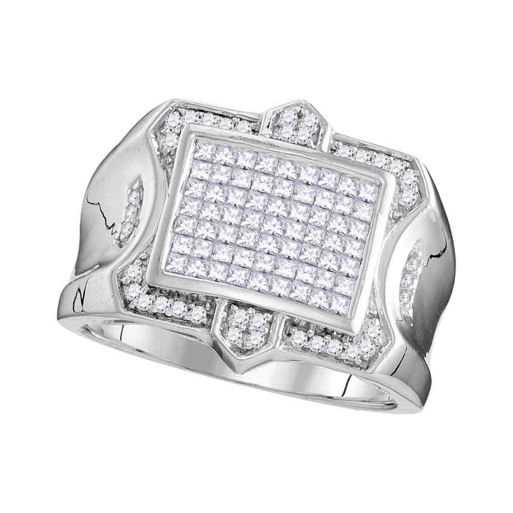 10K White Gold Mens Princess Diamond Symmetrical Square Cluster Ring 1.00 Ct