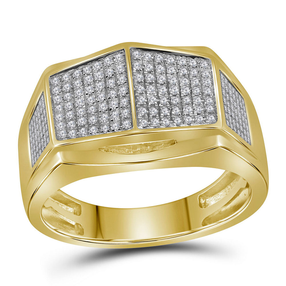 10K Yellow Gold Mens Round Diamond Symmetrical Arched Square Cluster Ring 1/3 Ct