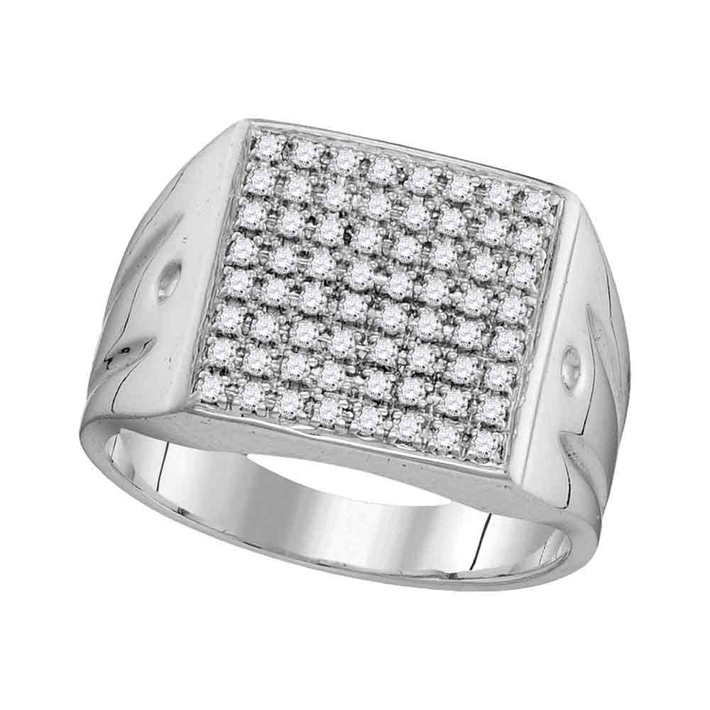 10K White Gold Mens Round Diamond Polished Square Cluster Ring 1/2 Ct