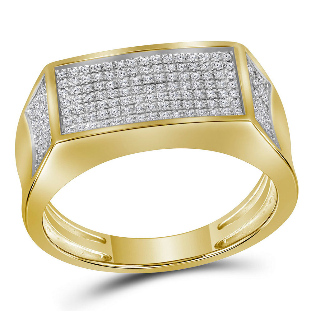 10K Yellow Gold Mens Round Diamond Rectangle Cluster Band Ring 1/3 Ct
