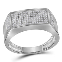 10K White Gold Mens Round Diamond Rectangle Cluster Band Ring 1/3 Ct