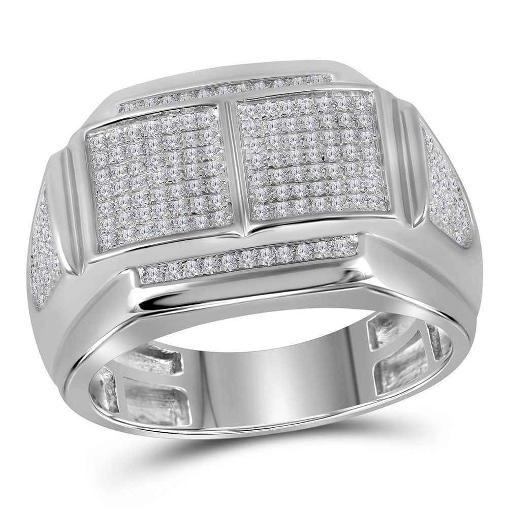 10K White Gold Mens Round Diamond Double Square Cluster Ring 3/8 Ct