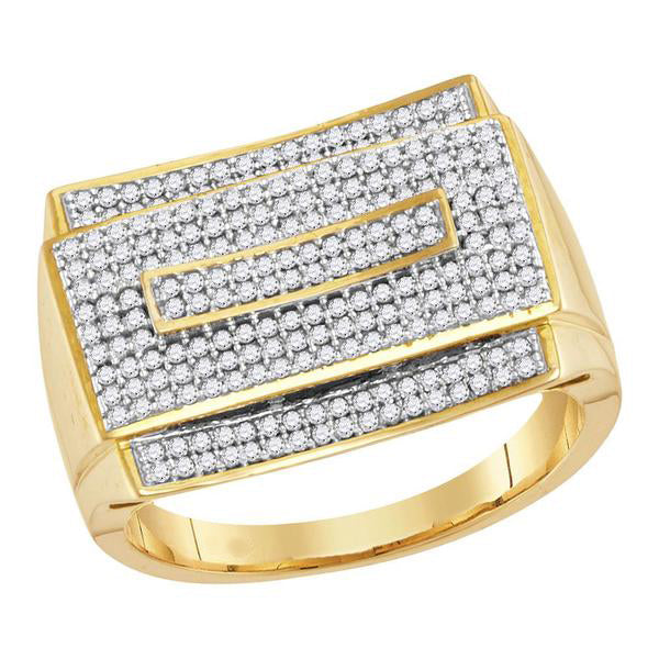 Men's 3/4 Ct Diamond Pave-set Rectangle Cluster Ring in 10K Yellow Gold